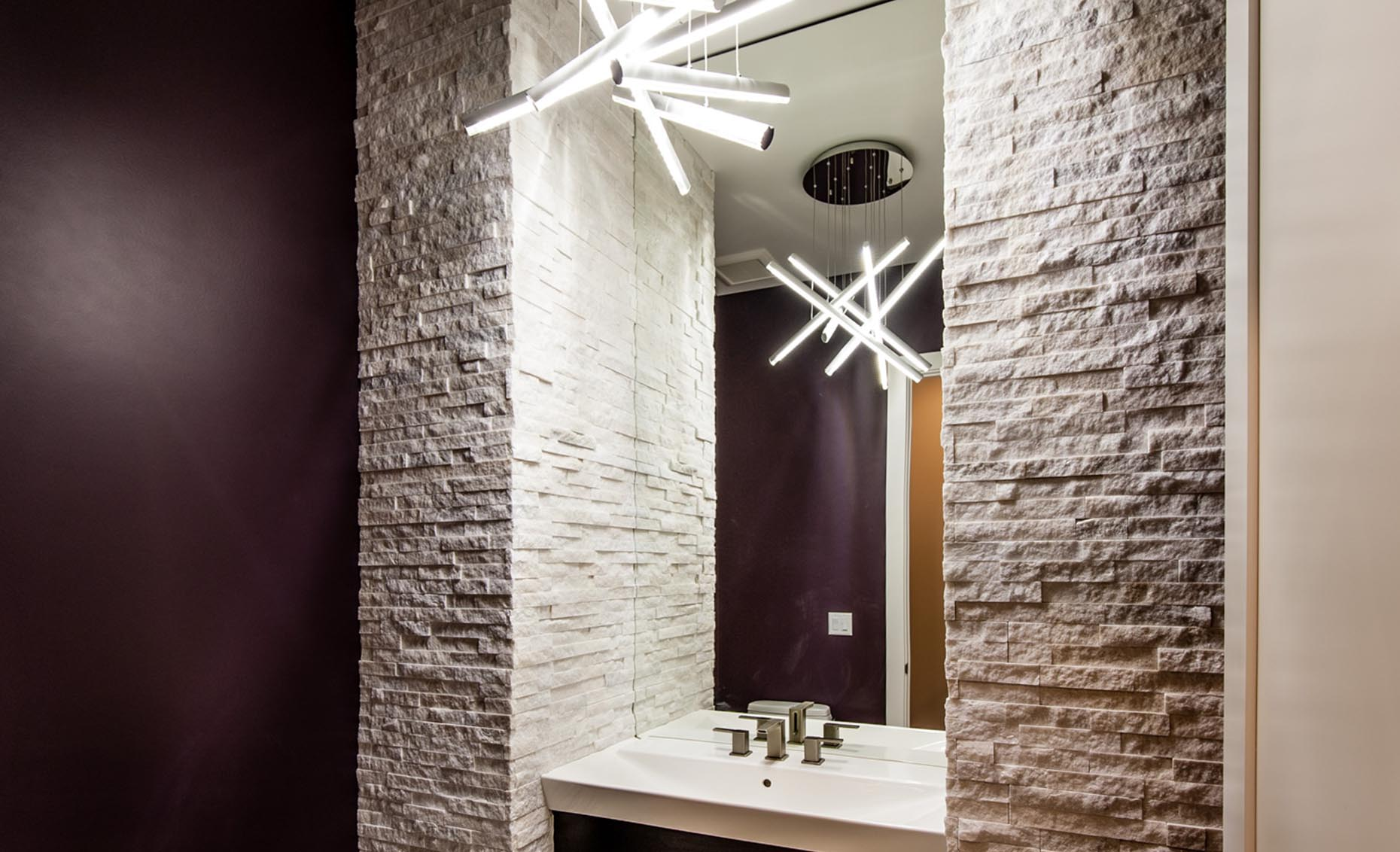The Rivermont Eagle House Bathroom with Modern Light Fixture