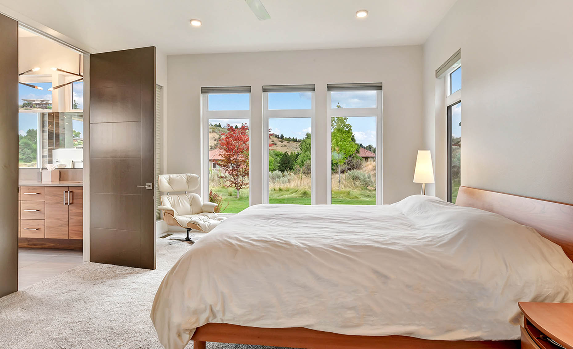The Nature View Custom Home Bedroom with Beautiful View