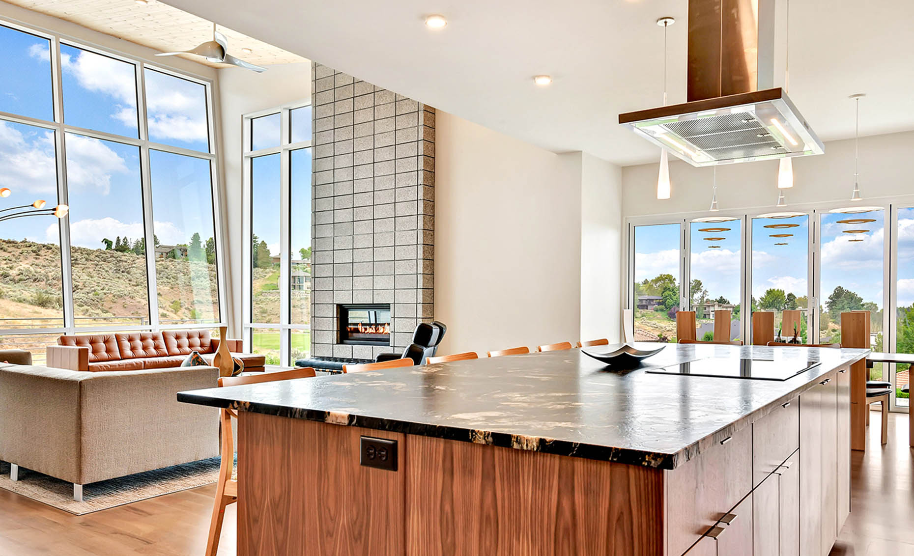 The Nature View Custom Home Kitchen and Living Room