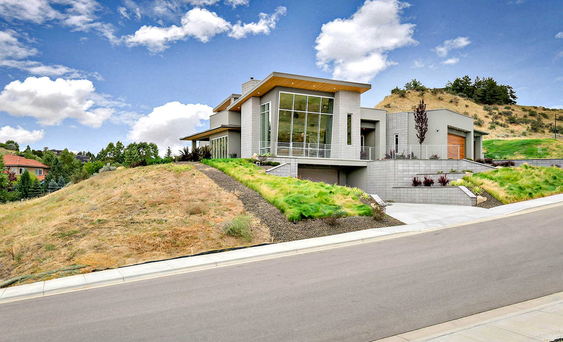 The Nature View Custom Home Exterior Street View