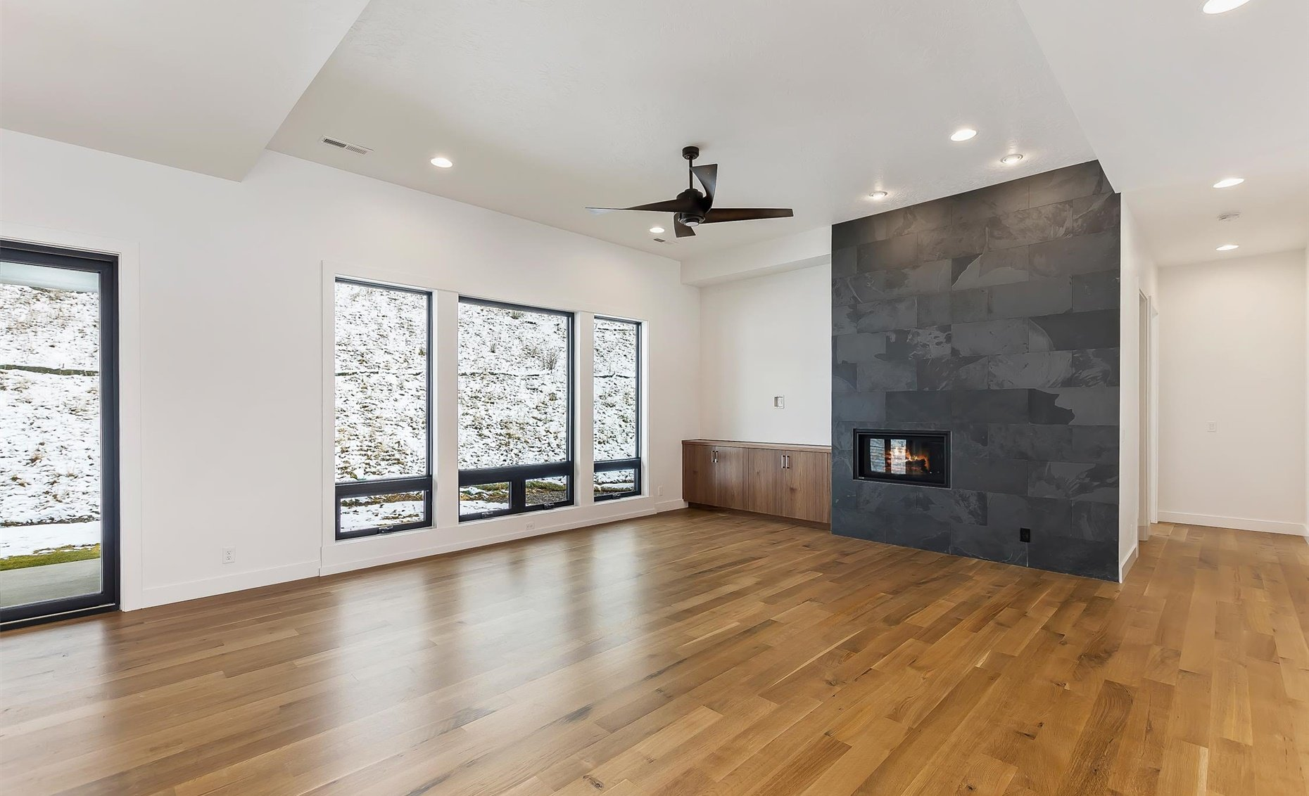 East Highland | Great room with fireplace