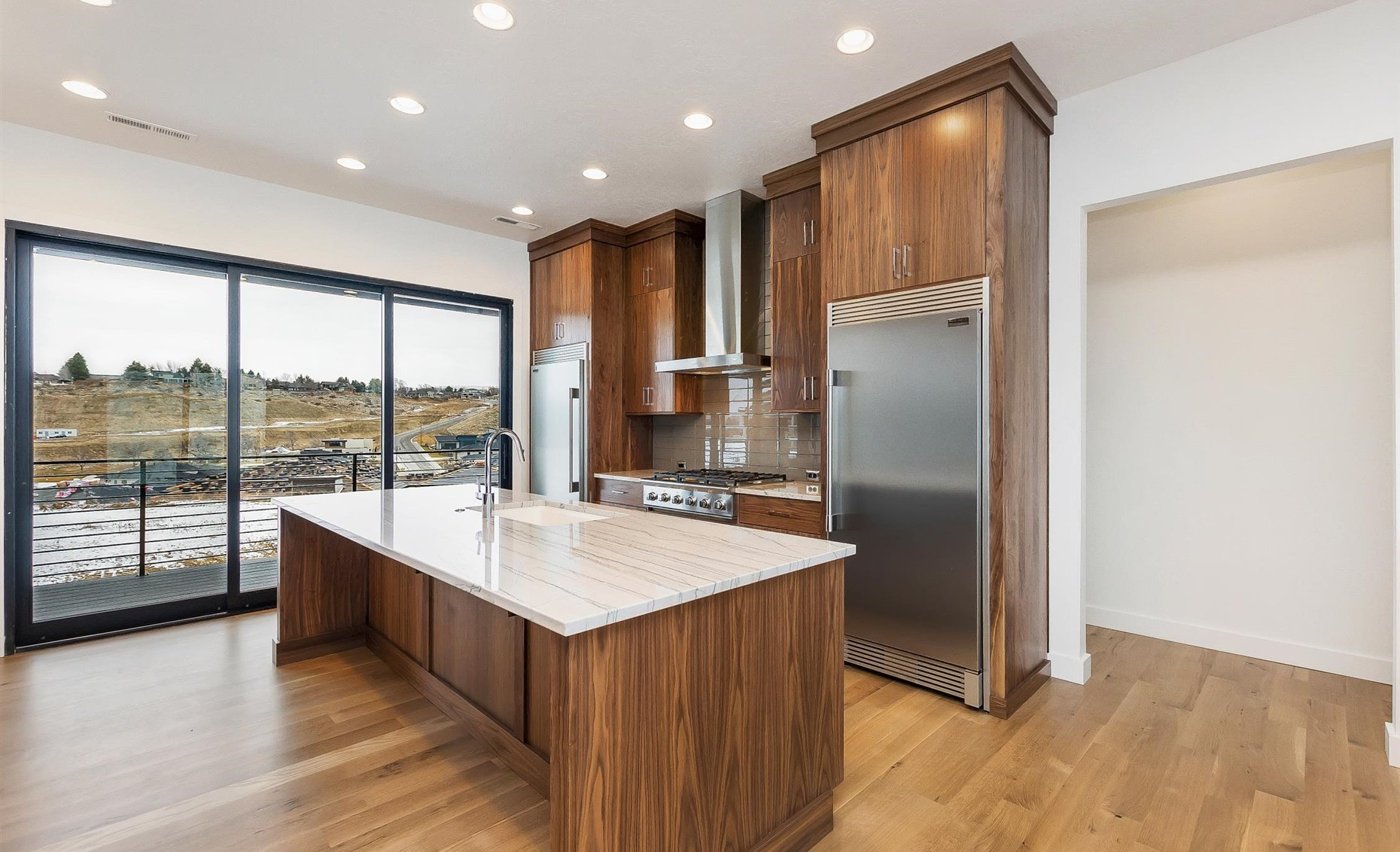 East Highland | Kitchen with balcony view
